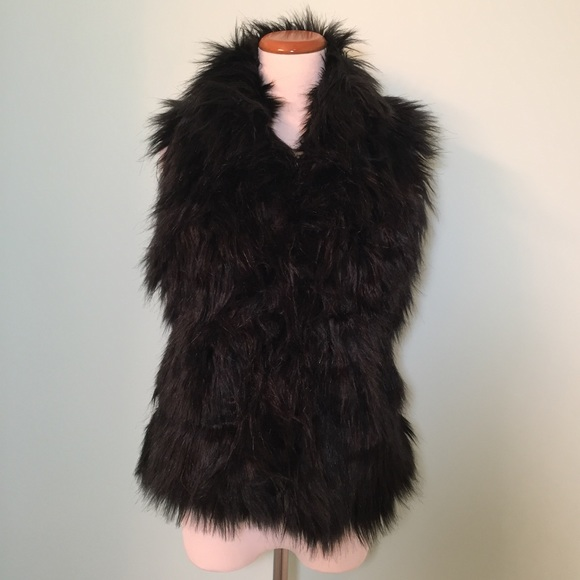 8e57005da Gi Sono by Cavalini Black Faux Fur Vest